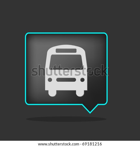 black neon bus icon with shadow