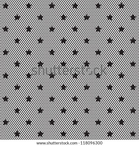Black net lace with stars on white background