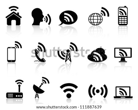 black network icons set
