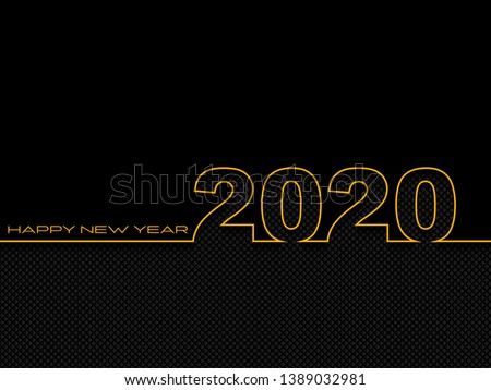 Black New Year background. Happy New Year 2020 logo text design. Cover of business diary for 2020 with wishes. Brochure design template, card, banner. Vector illustration.
