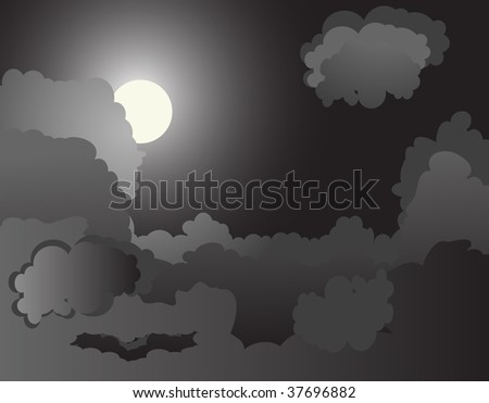 Black night background - vector illustration - stock vector