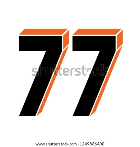 black numbers  77 isolated on