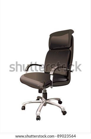 Black office armchair isolated on white background. Vector