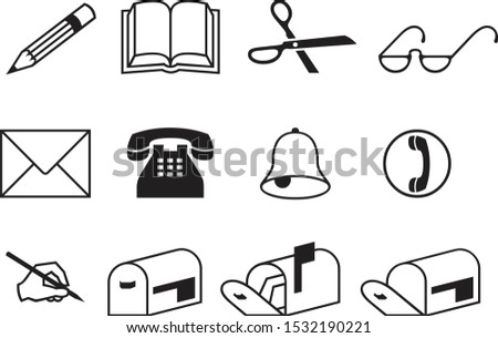 black office icon set, stationery vector set