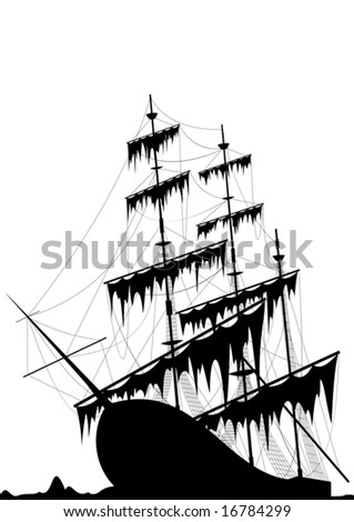 Black old ship at the sea ground - vector