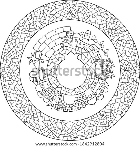 black on transparent outline old city skyline panoramic landscape with pomegranate copy space shape on mosaic circle center, within mosaic round frame black on transparent
