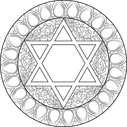 Black on transparent six pointed star Jewish mandala decorated with floral motifs surrounded with gemstones circle frame. Use for Jewish holidays decoration, travel blogs, web site template, coloring
