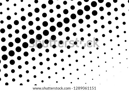Black on white abstract halftone texture. Oversized dotted ornament. Contrast dotwork pattern. Monochrome halftone vector surface. Perforated retro abstraction. Polka dot texture card