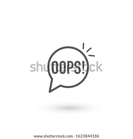 black oops thin line logo. flat stroke style trendy speech bubble logotype graphic art design element isolated on white background Foto stock ©