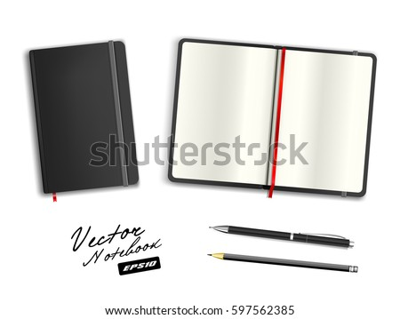 Black open and closed copybook template with elastic band and bookmark. Realistic stationery cerulean black pen and  pencil. Notebook Vector illustration isolated on white background.