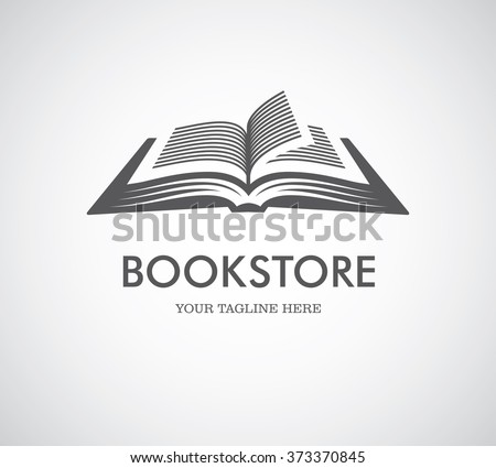 Black open book with text icon. Can be used as logo for bookstore or shop, library, educational or learning concept etc.