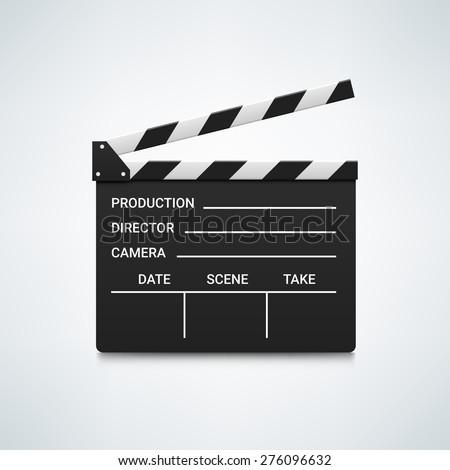 Black open clapperboard. Realistic vector illustration. Movie clapper board. Movie logo. Clapper icon. Movie icon. Movie vector logo. Movie vector icon. Video logo. Clapper vector logo. Movie icon