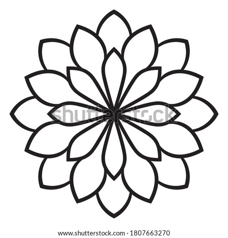Black outline flower mandala. Doodle round decorative element for coloring book isolated on white background. Floral geometric circle. Vector illustration. Stock photo ©