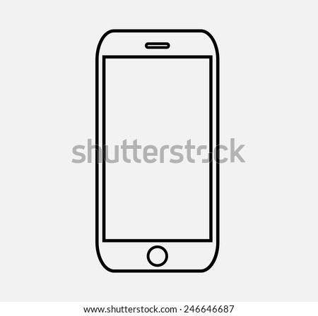 black outline smartphone icon