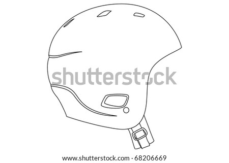 Helmet Outline Black Outline Sports Helmet on