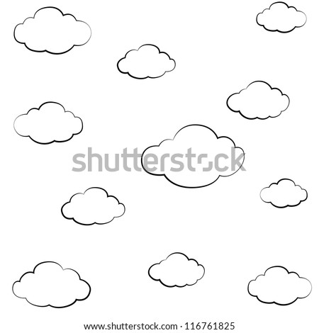 black outline vector Cloud on white background. - stock vector