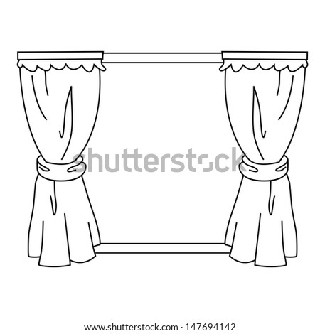 Black Outline Vector Curtain On White Background ...