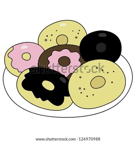 Black outline vector donut on white background.
