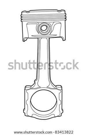 Black outline vector illustration (engine pistons)