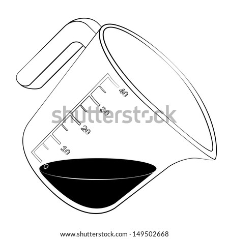 Black outline vector measuring cup on white background