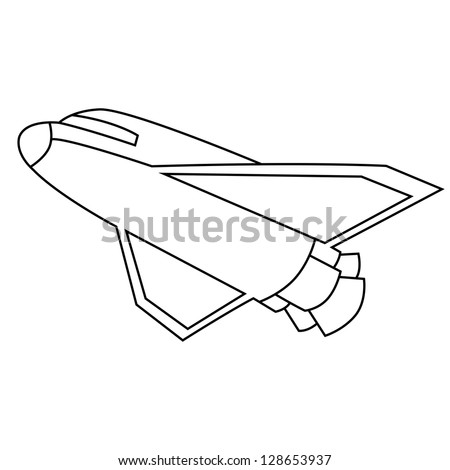 Black outline vector spacecraft on white background.