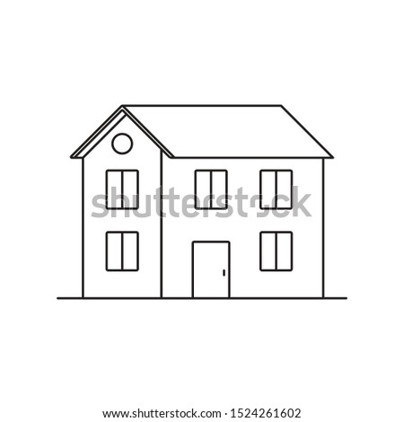 Black outlined house on a white background. Outline icon in flat style. Vector illustration.