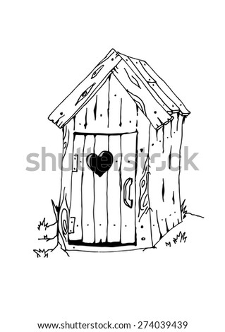 Black outlines sketch outside toilet facilities. Vector illustration.