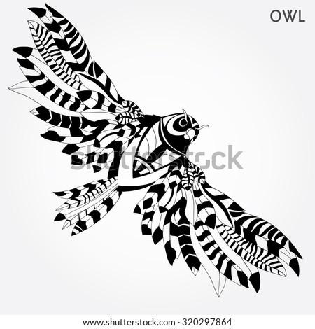 black owl bird head for mascot