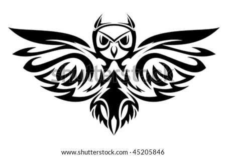 Black owl symbol isolated on white as a wisdom concept. Jpeg version is also available