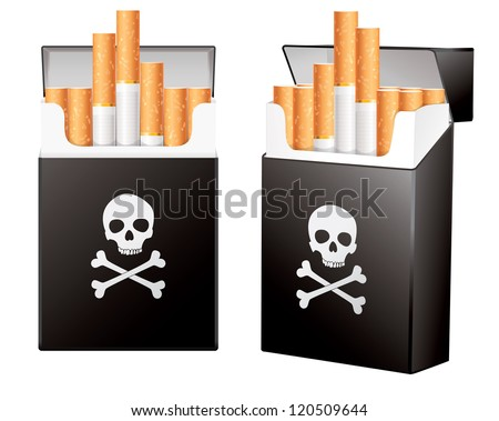 black pack of cigarettes with