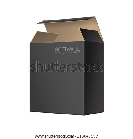 Black Package Box Opened. For Software, electronic device and other products. Vector illustration