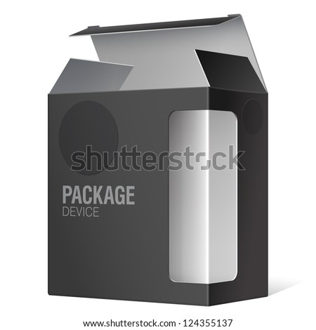 Black Package Box with a transparent plastic window. Vector illustration