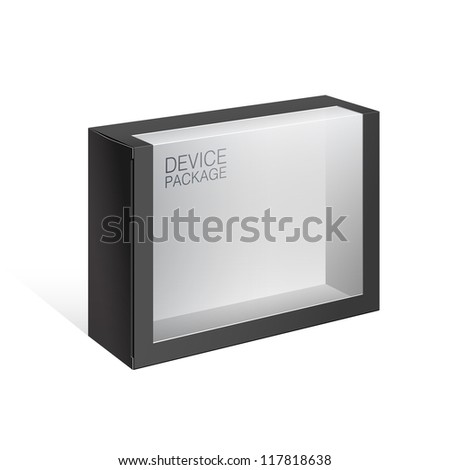 Black Package Cardboard Box with a transparent plastic window. For, electronic device, toys, games, Software and other products.Vector illustration