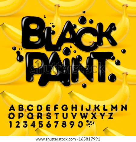 Black Paint alphabet and numbers, vector illustration.