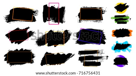Black paint, ink brush stroke, brush, line or texture. Dirty artistic design element, box, frame or background for text. Blank shapes for your design. Vector illustration. Isolated on white background