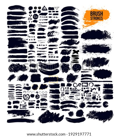 Black paint, ink brush strokes, brushes, lines, grungy. Set of Dirty artistic design elements, boxes, frames. Vector illustration. Isolated on yellow background. Freehand drawing.
