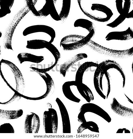 Black paint swirled line vector seamless pattern. Wavy and curly lines, round shapes, dry brush stroke texture. Abstract wallpaper design, trendy textile print. Wavy and swirled brush strokes