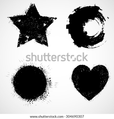 black paint vector grunge shapes