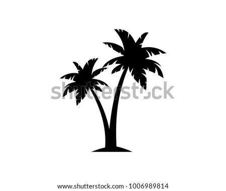 Black Palm Tree Illustration Silhouette Logo Symbol Vector
