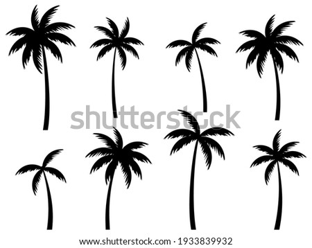 Black palm trees set isolated on white background. Palm silhouettes. Design of palm trees for posters, banners and promotional items. Vector illustration