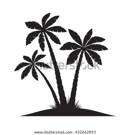 black palm trees vector
