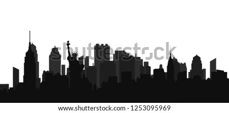 Black panorama of New York with shadows on a white background. Vector illustration. Flat design for business financial marketing advertisement advertisement web concept cartoon illustration.