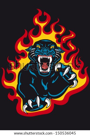 black panther attack in fire