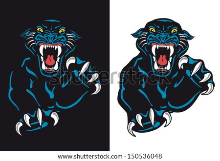 Black Panther Attack Isolated Vector Tattoo Flash with Background