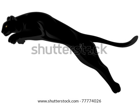 black panther attacking - vector illustration