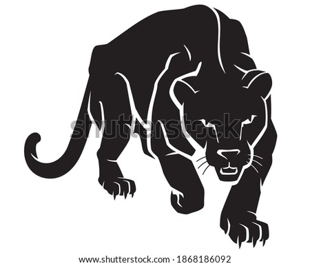 Black Panther Crouching Forward, Front View Animal Illustration Сток-фото ©