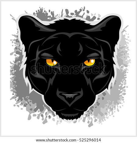 Stock Photo Black Panther head - on grunge background.