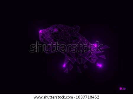 Black panther in purple linear of geometric glow illustration design, Eps 10 vector