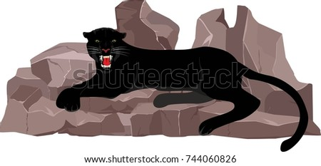 Black Panther Lying On The Stones Vector Illustration