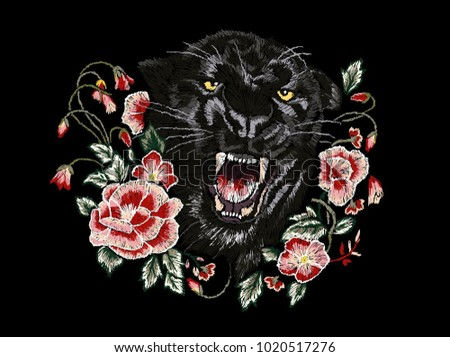black panther with roses